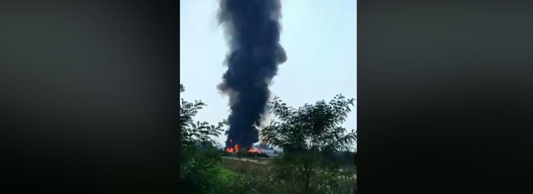 На Пустомитівщині масштабна пожежа: горить хімічне підприємство (ВІДЕО)