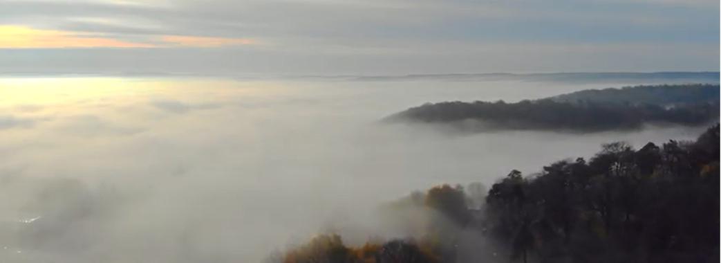 Винники в тумані: фантастичне відео зняли сьогодні зранку