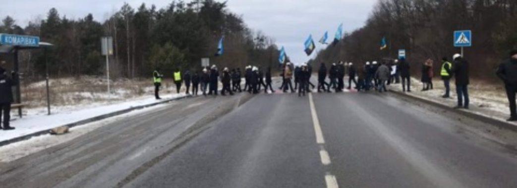 На Жовківщині шахтарі перекрили міжнародну трасу