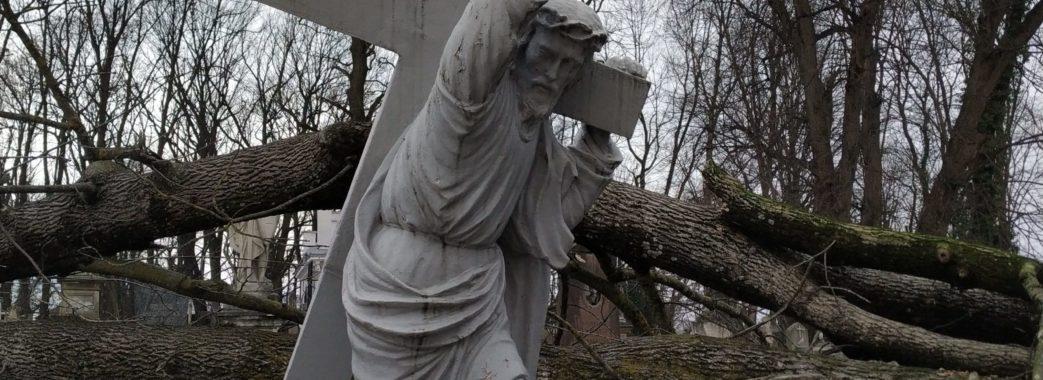 Дивом вціліла скульптура Христа: на Львівщині лютує буревій