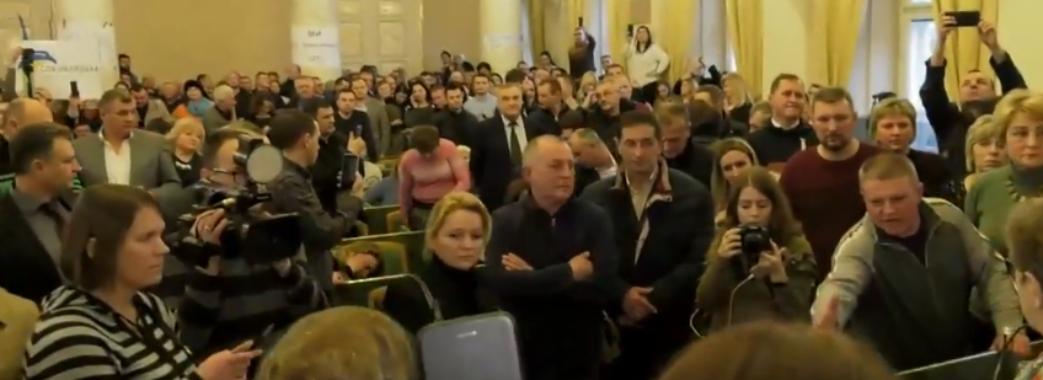 Представники громад блокували засідання ЛОДА щодо формування ОТГ (Відео)