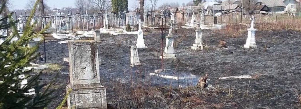 Випалений цвинтар і обгорілі хрести: через підпал трави на Стрийщині зайнялось кладовище